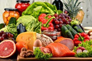 Array of healthy foods