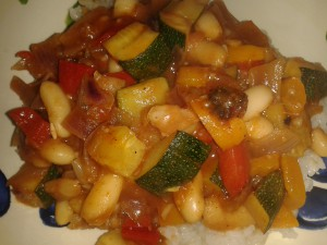 Final meal of the week.  White bean chilli