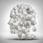 Head made of sugar cubes
