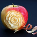 Rose carved from an apple