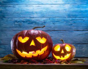 Glowing pumpkin lanterns