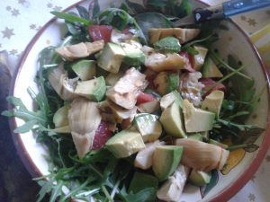 Rocket, avocado, artichoke & pink grapefruit salad