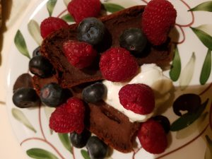 Chocolate banana bread with yoghurt & berries